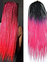 Rosa Senegal / Crochê Dreadlocks Extensões de cabelo 20 Kanikalon 2 costa 100g grama Tranças de cabelo