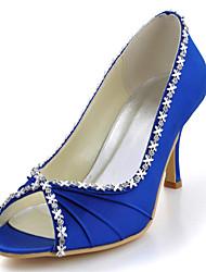 Women's Shoes Silk Stiletto Heel Heels / Peep Toe Heels Wedding / Party & Evening / Dress Blue / Yellow / Pink / Purple