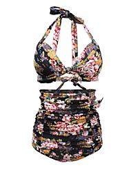 Bikinis Aux femmes Taille Haute Licou Nylon / Polyester