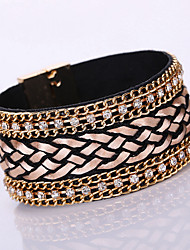 New Fashion Charm Women Leather Shiny Rhinestone Multilayer Magnetic Width Magnet Alloy Buckle Bangle Bracelet
