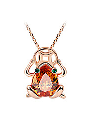 HKTC Exquisite Gift Jewelry 18k Rose Gold Plated Green Eyes Coin Champagne Crystal Frog Pendant  Alloy Necklace