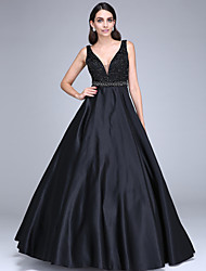 TS Couture Formal Evening Dress - Beautiful Back Ball Gown V-neck Floor-length Satin with Beading Sash / Ribbon