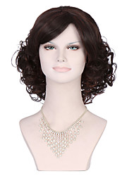 Top Quality Women's Fashionable Black color Medium Length Curly Wigs with Side Bang