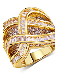 18K Gold Plating Rings Fashion jewelry Cubic Zirconia Anniversary Wedding Rings for Womens Accessories Jewelery
