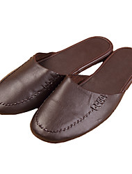 Men's Slippers & Flip-Flops Summer Comfort Cowhide Outdoor Flat Heel Brown