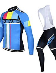 KEIYUEM® Cycling Jersey with Bib Tights Unisex Long Sleeve BikeBreathable / Quick Dry / Dust Proof / Wearable / Sweat-wicking /