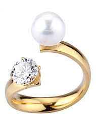 High grade pearl crystal zircon opening ring