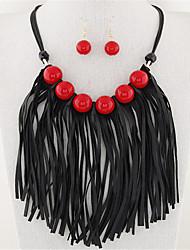 Schmuck Halsketten / Ohrringe Halskette / Ohrringe Modisch Party 1 Set Damen Schwarz / Rot Hochzeitsgeschenke