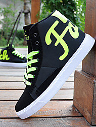 Men's Shoes PU Casual Boots Casual Walking Flat Heel Lace-up Black / Green / White