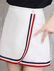 Women's Color Block Blue / White Skirts,Street chic / Casual Mini Cotton / Polyester