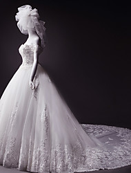 Ball Gown Wedding Dress Court Train Off-the-shoulder Tulle with Crystal / Appliques / Beading