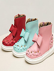 Girl's Boots Spring / Summer / Fall / Winter Flats PU Outdoor Flat Heel Flower Blue / Pink / Red