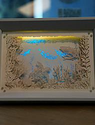 EE.UU. enchufe de papel creativo llevado talla 3d mundo submarino noche luz de la Navidad decorativa