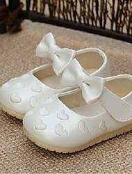 Chaussures bébé-Rose / Blanc-Extérieure-Similicuir-Ballerines
