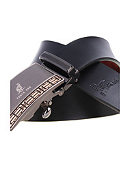 A4007-1 Men's Cowhide Belts Automatic Buckle High Grade Soft Leather Belt Black