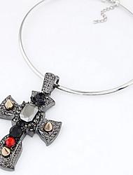 Silver Cross Pendant Choker Necklace