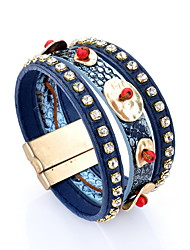 Wide Leather Bracelet with Crystal
