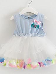 Vestido Bebé-Casual/Diario-Floral-Algodón / Lino-Verano-Rosa / Morado / Blanco