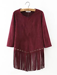 Damen Solide Sexy Lässig/Alltäglich T-shirt,Rundhalsausschnitt Frühling / Herbst ¾-Arm Rot Baumwolle / Leinen Dünn