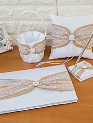 Linen Wedding Collection Set with Lace and Ribbon (4Pieces)