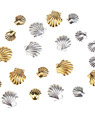 Accessories Set Kit With 20pcs Gold And Silver Colored 3mm And 5mm Sea Shells Forms  Nail Art 3D Decorations