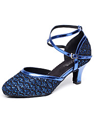 Women's Dance Shoes Leatherette Leatherette Latin / Salsa Sandals Chunky Heel Professional / Indoor Blue