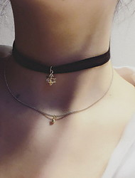 Women's Choker Necklaces Tattoo Choker Lace Alloy Tattoo Style Sexy Fashion Black Jewelry For Daily Casual 1pc