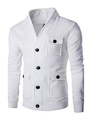 Pull à capuche & Sweatshirt Pour des hommes Couleur plaine Décontracté / Sport Coton Manches longues Noir / Blanc