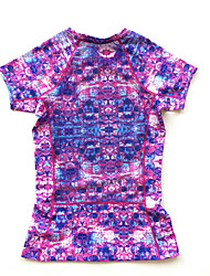 Women's Short Sleeve Running T-shirt Breathable Quick Dry Comfortable Sports Wear Running Black Purple Patchwork
