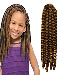 "Brown 12"" Kid's Kanekalon Synthetic 2X Havana Mambo Twist 100g Hair Braids with Free Crochet Hook"