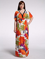 Balançoire Robe Femme Grandes Tailles Bohème,Imprimé Col en V Maxi Manches Courtes Polyester Eté Taille Haute Micro-élastique Moyen