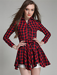 Women's Going out Simple Shirt Dress,Solid Shirt Collar Above Knee Long Sleeve Red Cotton Fall