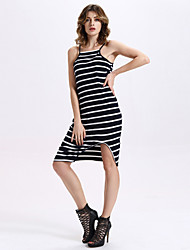 Women's Casual/Daily Sexy A Line / Sweater Dress,Striped Strap Knee-length Sleeveless Blue Cotton / Polyester Summer
