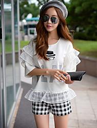 Rosa Doll® Damen Hohe Hüfthöhe Kurze Hosen Weiß Bequem Hose-X15BSP015
