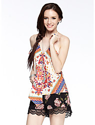 HEARTSOUL Women's Going out / Holiday Sexy / Boho Summer Blouse,Print Strap Sleeveless Polyester Thin