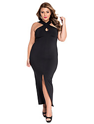 Women's Asymmetrical  Plus Size Cross Halter Jersey Dress
