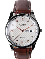 Men's Fashion Watch Calendar Casual Watch Quartz Leather Band Black