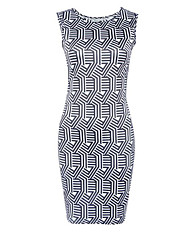 Women's Vintage / Street chic Print  Casual Slim Hin Thin Sheath Dress,Round Neck Mini
