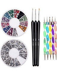 Nail 12 Colors Gemstones Wheel Dotting Pen Set & Brush Set