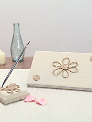 Linen Garden Theme / Floral ThemeWithBow Guest Book / Pen Set