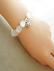 Natural Stone Gem Strand Bracelet with Ball Pendant