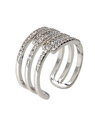 Anéis Fashion Pesta / Diário / Casual Jóias Liga / Zircão Feminino Anéis Grossos 1pç,8 Prateado