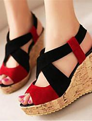 Damen-High Heels-Lässig-PU-Blockabsatz-Absätze-Lila / Rot / Orange