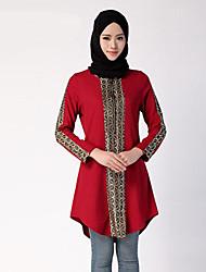 Damen Druck Einfach Ausgehen T-shirt,Rundhalsausschnitt Sommer Langarm Rot / Schwarz / Grün Polyester Mittel