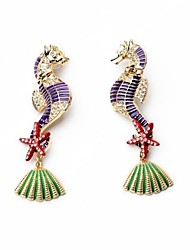 European Luxury Gem Geometric Earrrings Vintage Seahorse Drop Earrings for Women Fashion Jewelry Best Gift