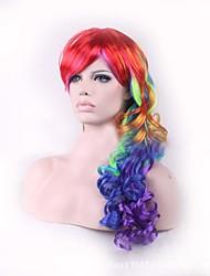 arco iris ombre cosplay de la peluca rizada larga tapa a prueba de calor pelucas sintéticas construcción Hari naturales
