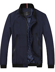 Men's Long Sleeve Casual / Sport Jacket,Polyester Solid Black / Blue / Red
