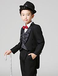 Black Polester/Cotton Blend Ring Bearer Suit - 5 Pieces Includes  Jacket / Shirt / Vest / Pants / Bow Tie