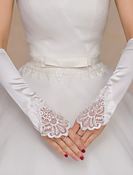 Opera Length Fingerless Glove Polyester Bridal Gloves Beading