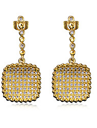 Drop Earrings Cubic Zirconia Copper Platinum Plated Gold Plated Fashion Square Gold White Jewelry Wedding Party Daily Casual 1 pair
